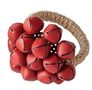 Mud Pie Red Jingle Bells Jute Napkin Rings