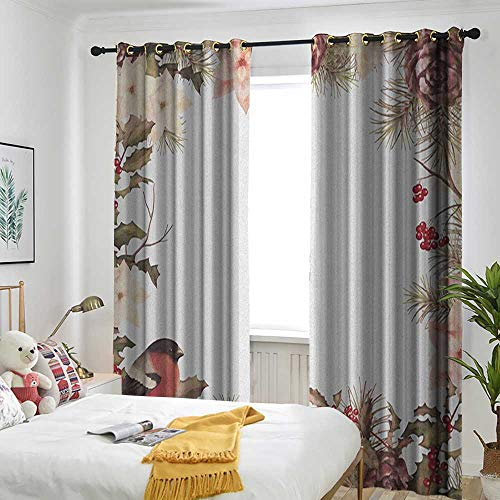 Cedar Metal Canopy Bed - TRTK Kitchen Curtains Pocket Insulation Curtain New Year,Eurasian Bullfinch Motif with Cedar Branch Holly Berries Vintage Dried Rose Coral Pale Peach