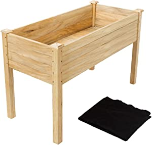 "VINGLI Heavy Duty Raised Garden Bed, Pine Wood Elevated Planter for Vegetables Fruits Potato Onion Flower, Outdoor Sturdy Long Lasting Planter Box Kit (48.5""x22.5""x30"")"