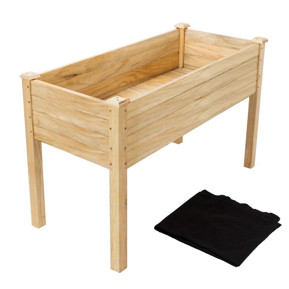 VINGLI Heavy Duty Raised Garden Bed, Pine Wood Elevated Planter for Vegetables Fruits Potato Onion Flower, Outdoor Sturdy Long Lasting Planter Box Kit (48.5''x22.5''x30'')