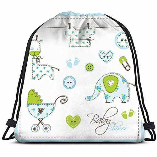scrapbook design elements cute unique baby shower holidays Drawstring Backpack Gym Sack Lightweight Bag Water Resistant Gym Backpack for Women&Men for Sports,Travelling,Hiking,Camping,Shopping -