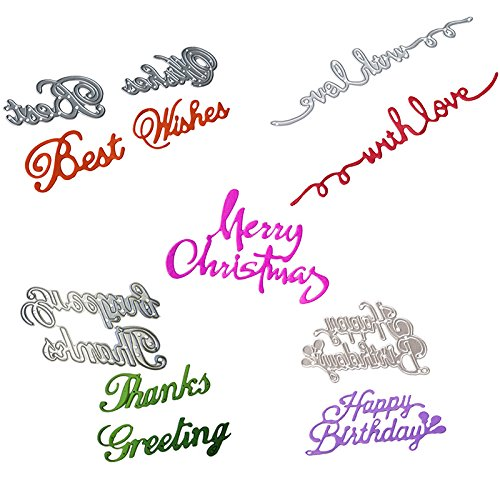 Cutting Dies 5 PCS English Word Best Wish Merry Christmas Dies Cut for Scrapbooking Card Making (Merry Christmas Cards Making)