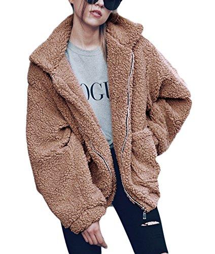 Krralinlin Women's Fleece Winter Thick Warm Coat Zipper Sherpa Lapel Jacket Outwear With (Brown Sherpa Jacket)