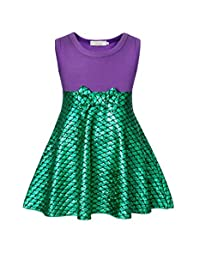 AmzBarley Little Mermaid Costume Girls Dress Scale Sleeveless Cosplay Party