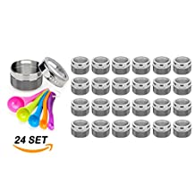 Stainless Steel Magnetic Spice Jars - Bonus Measuring Spoon Set - Airtight Kitchen Storage Containers - Stack on Fridge to Save Counter & Cupboard Space - 24pc Organizers in Gray