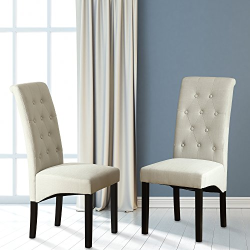 LSSBOUGHT Button-Tufted Classic Accent Dining Chairs with Solid Wood Legs, Set of 2 (Beige)
