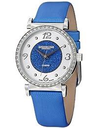Stuhrling Original Women's 711.02 Vogue Audrey Astra Swiss Quartz Diamond Blue Leather Strap Watch