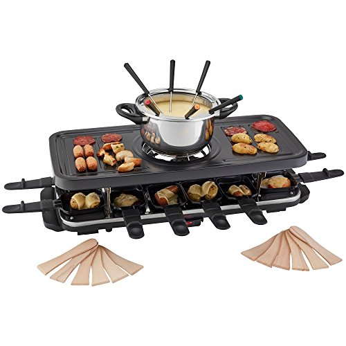 Traditional Raclette Grill Fondue Set, Non-Stick Top for Healthier Cooking...