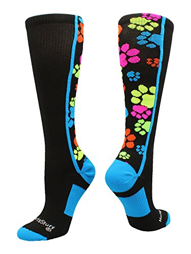 MadSportsStuff Crazy Socks with Paws Over The Calf (Multi-Neon/Black, Small)