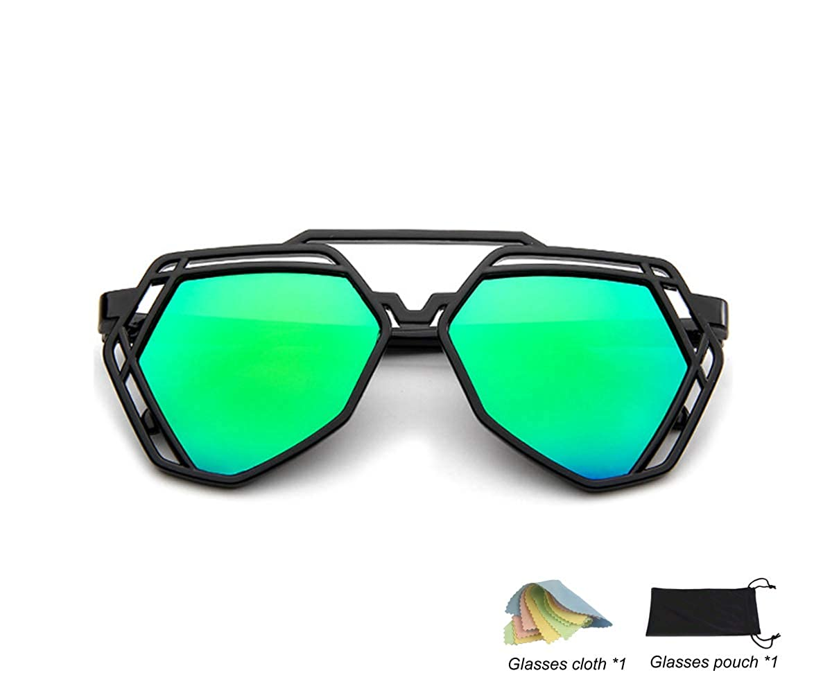 QHIU Lunettes de Soleil Réfléchissant Lentille Eyewear UV Protection  Moderne Unisexe Classique Rétro Mode Creux Polygonale c900407cee0e