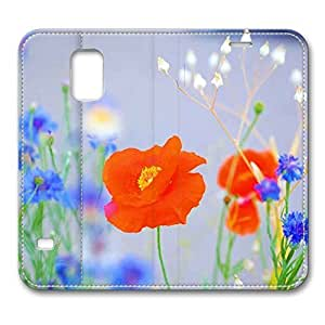 S5 Case, Galaxy S5 Case, Lovely Poppy Pattern Premium PU Leather Flip Protective Skin Case with for Samsung Galaxy S5