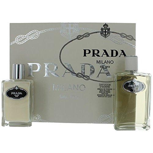 Prada Infusion Dhomme Edt - Prada Infusion D'Homme Gift Set for Men (Eau De Toilette Spray, Aftershave Balm)