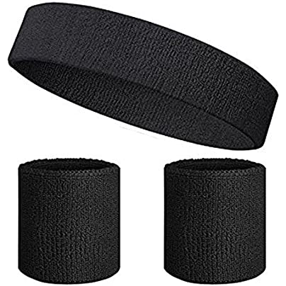 YUANQIAN Sweatband Set-1PCS Sports Headband and PCS Wristbands Moisture Wicking Sweat Absorbing Head Band Athletic Exercise Basketball Wrist Sweatbands and Headbands Estimated Price £7.99 -