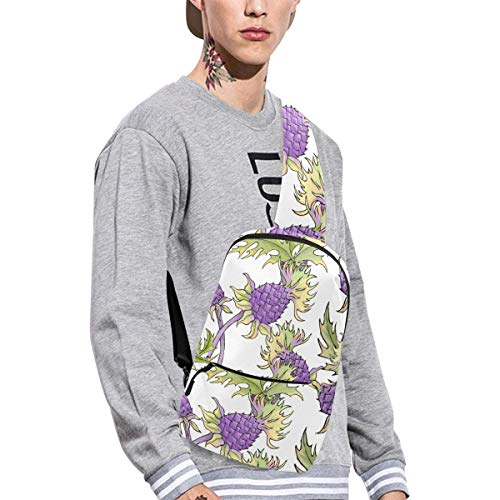 - Sling Shoulder Bag Fashion Thistle Hand Painted Flowers Flower Crossbody Bag Daily Sports Climbing Or Multi-purpose Backpack Men And Women Ladies And Teens