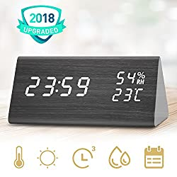 Digital Alarm Clock, Three Alarms, 12/24 Time Display Format, 3 Levels Adjustable Brightness Dimmer, Date Temperature and Humidity LED Display Wooden Alarm Clock for Bedrooms
