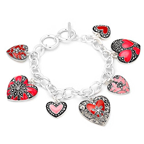 rosemarie-collections-womens-pretty-pink-and-red-heart-charm-bracelet