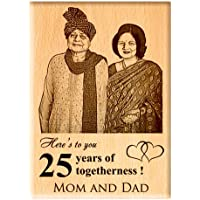Engraveindia Personalized Unique Anniversary/Just Married Gift - Wooden Engraved Photo Plaque/Frame