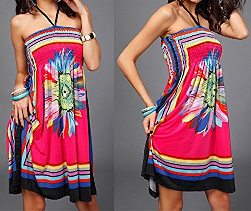 Shoulder Landove Party Pareo Swimwear Colore Cocktail senza Casual Boho Chic Summer spalline 04 Para Mujer Dress Beach XrXEnwSzHq