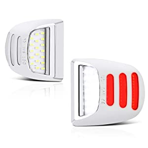 VIPMOTOZ 2PCs Red OLED Neon Tube Pure White LED Chrome License Plate Light Tag Lamp Assembly Replacement For Cadillac Escalade Chevy Silverado Tahoe Suburban GMC Sierra 1500 2500 3500 Yukon XL