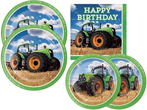Guest Kit - Tractor Time John Deere Party Supply Kit Includes Dinner Plates. Dessert Plates and Lunch Napkins for 16 Guests