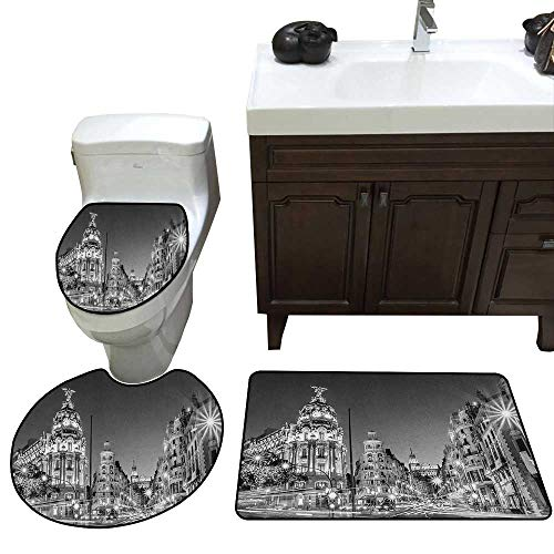 Moeeze-Home Black and White Custom Toilet Seat Cover Madrid City at Nighttime in Spain Main Street Ancient Architecture Toilet Bath Mats Rugs Black White Grey ()