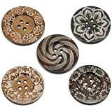 HOUSWEETY 10 Mixed Pattern 4Holes Wood Big Sewing Buttons for Sweater Overcoat 6cm
