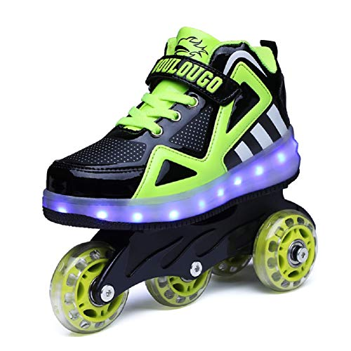 Nsasy New Multi Use Roller Skates Inline Skates Led Light up Sneaker Wheels Shoes High Top Kids Trainers for Girls Boys -
