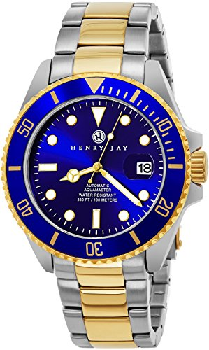 (Henry Jay Mens Self Winding Mechanical Automatic 23K Gold Plated Two Tone Stainless Steel