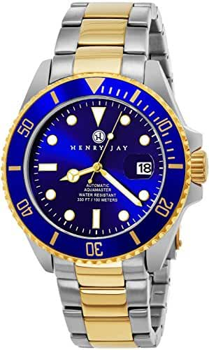 "Henry Jay Mens ""Limited Edition"" Self Winding Mechanical Automatic 23K Gold Plated Two Tone Stainless Steel"