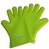 Creativeopedia Heat Resistant Silicone 5 Finger Good Grip Non-Slip BBQ Grilling Gloves or Oven Mitts