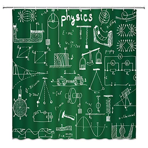 dachengxing Child School Study Education Shower Curtain Physics Course Decor Mechanics Digital Formula Chart Illustration in Green,Waterproof Fabric Hooks Included 70x70 Inch (Difference Between Special Education And Regular Education)