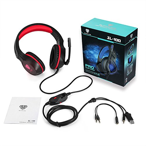 PC Gaming Headset with Mic, VPRAWLS 3.5mm Wired Over-Ear Bass Surround Stereo Headphone with Noise Cancelling, Leather Earmuff, Volume Control for PS4 New Xbox One Mac Laptop Computer Games by VPRAWLS (Image #7)