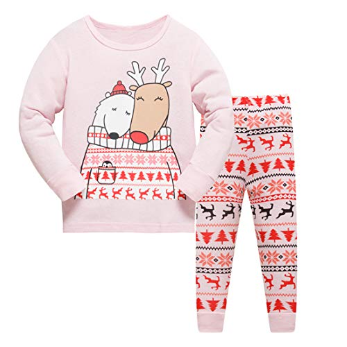 2T Reindeer Christmas Pajamas for Girls Long Sleeve Cotton Clothes 2-Piece Set PJs -