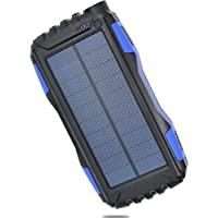Solar Power Charger [Waterproof / Shockproof / Dustproof] 25000mAh-Dual USB Portable Solar Power Bank for iPhone, Samsung, Windows and Android phones, GPS, iPads, and Cameras with bonus Keychain