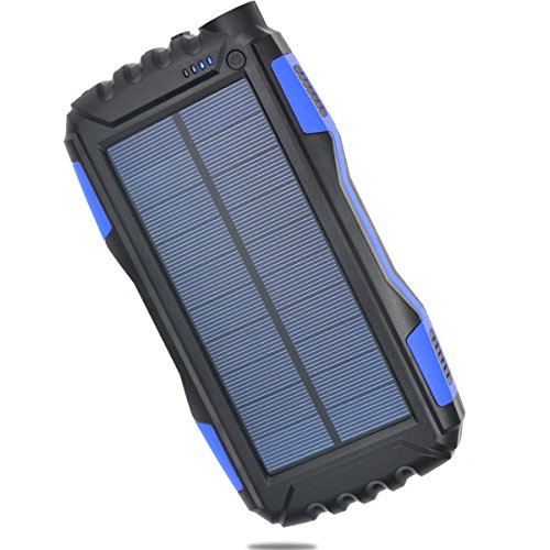 Solar Power Bank [Waterproof / Shockproof / Dust-proof] 25000mAh-Dual USB Portable Charger with LED Indicators and Flashlight with Bonus Keychain (Supply Chain Solar)
