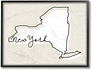 Stupell Industries New York Home State Map Neutral Print Design Black Framed Wall Art, 11 x 14, Multi-Color