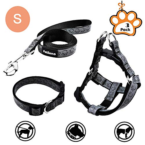 (PetBemo Adjustable Reflective Pet Leash Collar Harness Set Double Band Nylon Dog Paw's Print Leash Set for Small Medium Pet for Walking Black,Small)