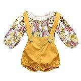 #10: GRNSHTS Baby Girls Floral Suspenders Pant Set Long Sleeve Romper + Short Overalls