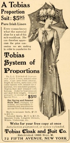 1909 Ad Tobias System Proportion Cloak Suit Irish Linen - Original Print Ad - 72 Antique Linen
