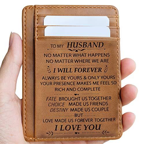 Pocket Memory Card (Engraved Leather Front Pocket Wallet Gift for Son Husband Grandson Minimalist Slim Wallet RFID (To My Husband))