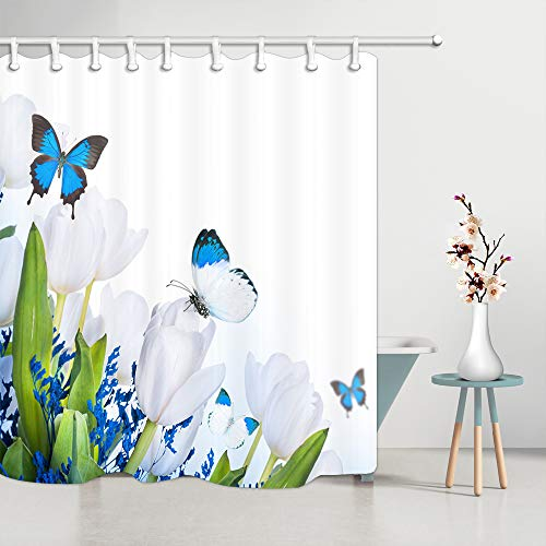 JAWO Natural Scenery Shower Curtain for Bathroom, White Tulip Flower Blue Butterfly Spring Polyester Fabric Bath Curtains with Hooks 69X70 Inches