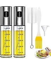 Oljespruta, bärbar oljespruta för köksbruk, 2st sprayflaskor för olivolja – med bakborste, flaskborste och oljetratt, oljespruta för utomhusgrillning/matlagning på resa/dagligt köksbruk (100ml)