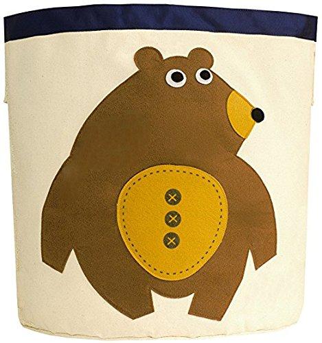 Canvas Storage Bins for Kids Toys or Laundry Basket/Baby Hamper Large (Brown Bear)