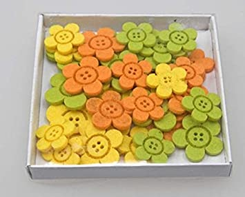 36 Stk Filzbluten Gelb Orange Grun Filz Bluten Mix Filzknopfe