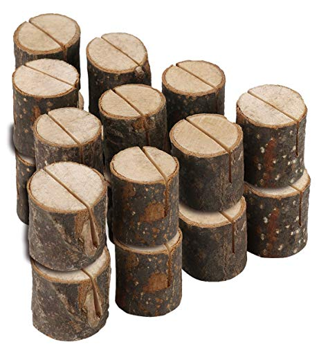 Royal Brands (20 Pc) Rustic Wood Place Card Holders Round Table Number Holder Stand Wooden Bark Memo Holder Card Photo Picture Note Clip Holders Bulk Wedding Party (Number Table Round Cards)
