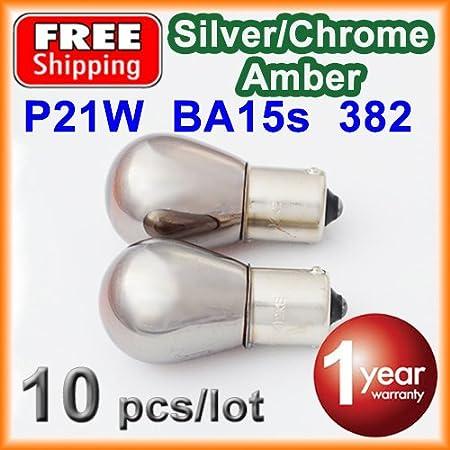 10 X 382 S25 P21w Silber Chrom Bernstein Ba15s 12v 21w Auto Pause Glas Lampe Auto Rücklicht Versandkostenfrei Auto