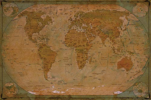 GREAT ART Photo Wallpaper Retro World Map 132.3x93.7in / 336x238cm - Wallpaper 8 Pieces Includes Paste.