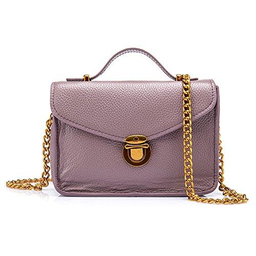 TACOO Women Portable Handbag Shoulder Bags Genuine Leather Lock Lady Fashion Chain Messenger Bag Purple - Fake Cards Id Military Sale
