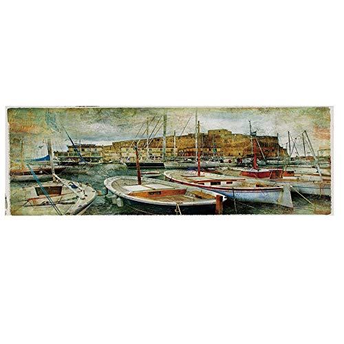 Marine Microwave Oven Cover with 2 Storage Bag,Naples Small Boats at Historical Italian Coast with Heritage Castle Nautical Artwork Decorative Cover for Kitchen,36