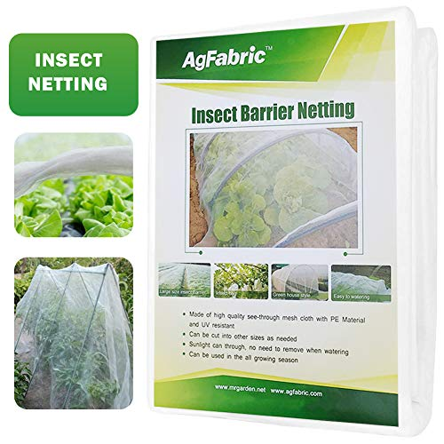 Agfabric Bug Net Garden Netting Against Insects Birds Mosquito Barrier for Plant&Vegetables 6.5'x10', White